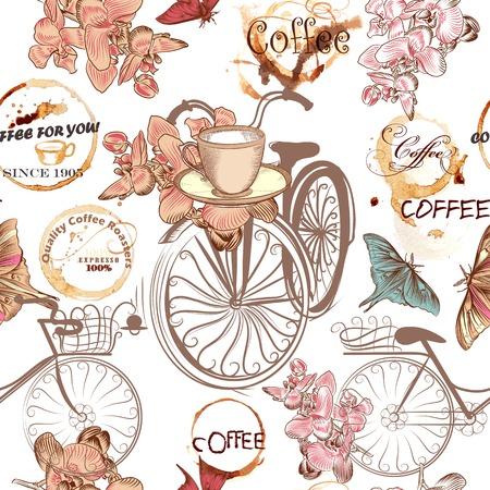 Café sin patrón, con bicis, tazas, mariposas, manchas de café grunge y flores Foto de archivo - 41199488