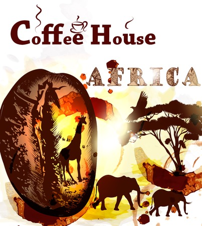 ethiopia: Coffee poster with coffee grain, spots and African animals Ethiopia coffee