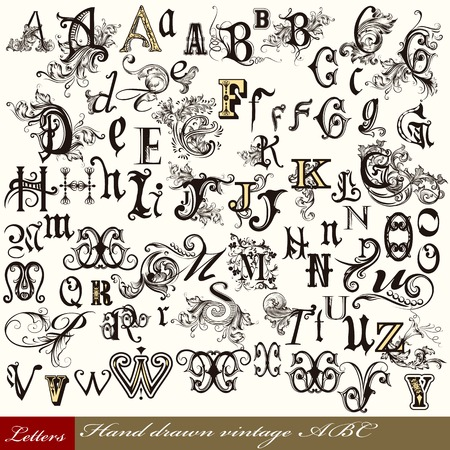 english letters: Set of vintage letters English alphabet hand drawn swirl letters Illustration