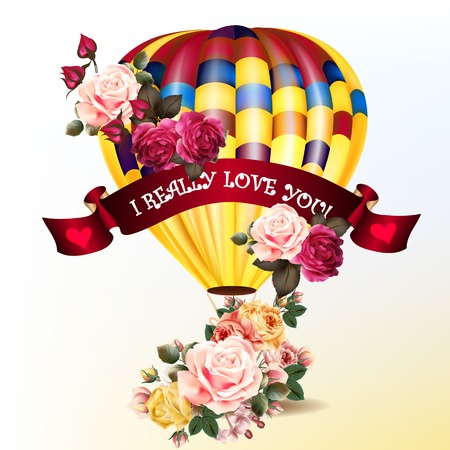 illustratio: Air balloon with roses in the basket and ribbon with signature I really love you Valentines day illustratio