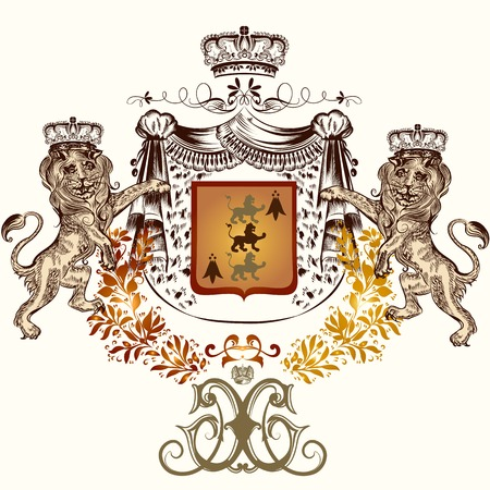lion king: Heraldic design with lions in crowns holding royal shield Illustration