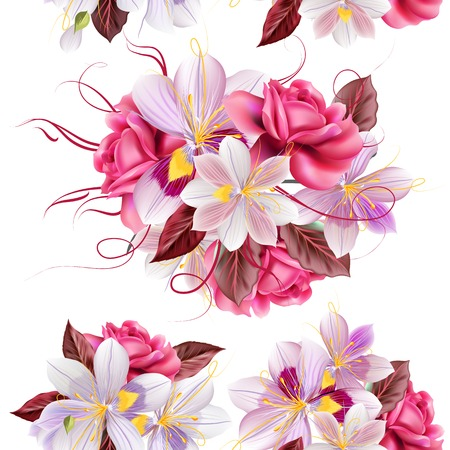 Vector seamless wallpaper pattern with roses and hyacinth flowers Illustration