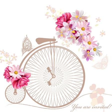 Bicicleta con la cesta por completo de flores y mariposas a su alrededor Foto de archivo - 41764572
