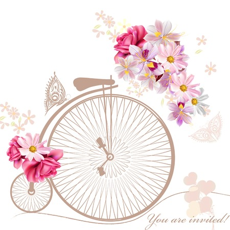 pink bike: Bicycle with basket fully of  flowers and butterflies around it