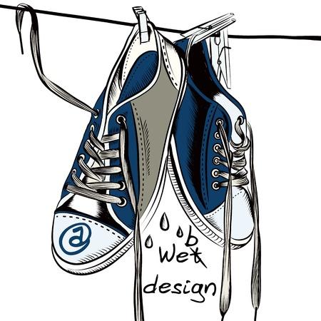 symbol sport: Illustration mit feuchten Sportschuhe hängen Symbol für Web-Design
