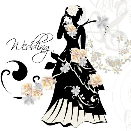 wedding decoration: Cute wedding card with bridal and roses