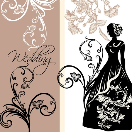 white wedding: Wedding invitation with female silhouette, roses and ornament