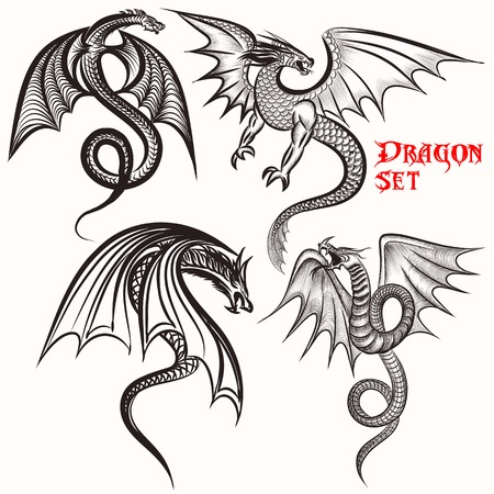 winged dragon: Tattoo vector set hand drawn dragons for design Illustration