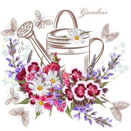 Beautiful background with garden flowers and butterflies
