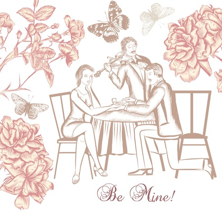 suggestion: Romantic design with cute couple men make suggestion his women Illustration