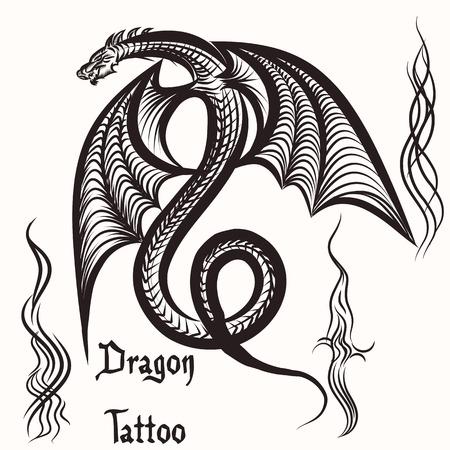 drago alato: Tatuaggio disegnato a mano di vettore con drago alato
