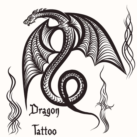 dragon fire: Vector hand drawn tattoo with winged dragon Illustration