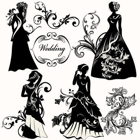 wedding dress: Collection of bridal silhouettes for design Illustration