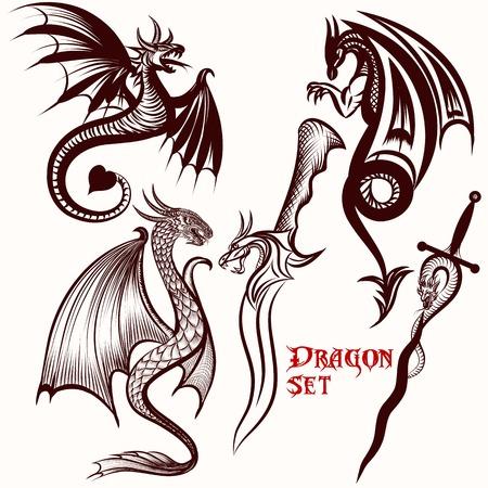 winged dragon: Dragon vector set for tattoo design Illustration