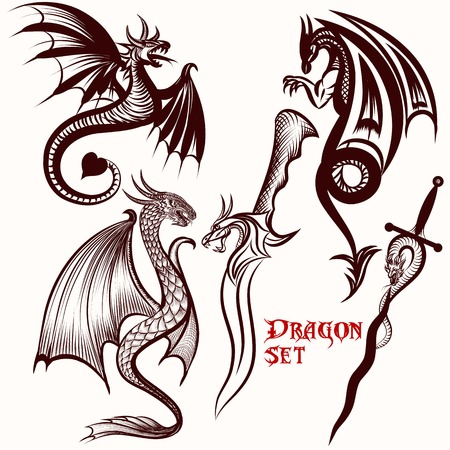 Dragon vector set for tattoo design Illustration