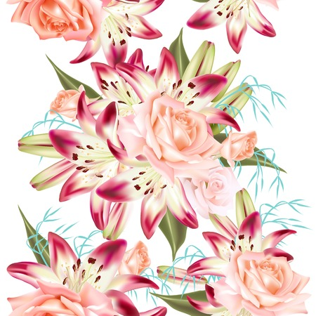all in: Beautiful seamless wallpaper pattern with realistic roses and lily all in pink