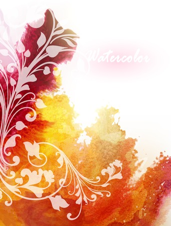 abstractly: Vector poster template with watercolor paint colored splash in orange Illustration