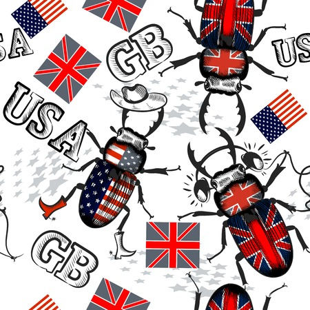 wearied: British and USA flags seamless trendy pattern with bugs and flags Illustration