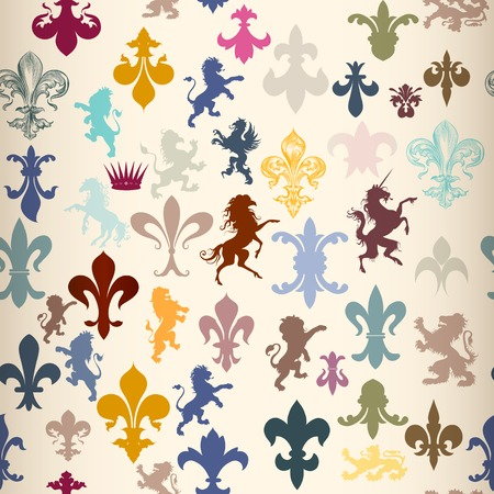 shield wings: Heraldic seamless wallpaper pattern with lions, horses, griffins and fleur de lis
