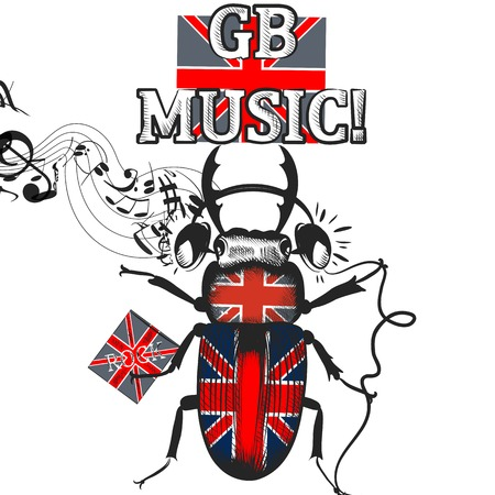 british english: Creative background with beetle colored in British flag in headphones symbol of English music