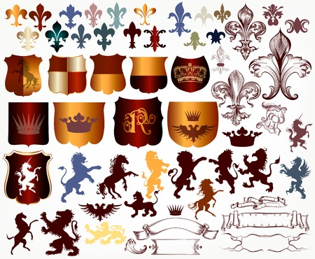 eagle shield and laurel wreath: Heraldic collection of shields, silhouettes of lions, griffins and fleur de lis