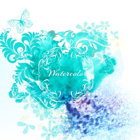 abstractly: Watercolor background with spot and some floral elements Illustration
