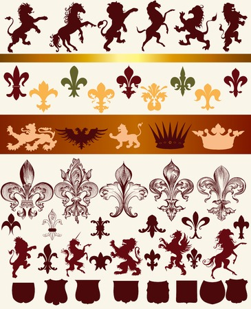 eagle shield and laurel wreath: Vector set of vintage heraldic elements for design