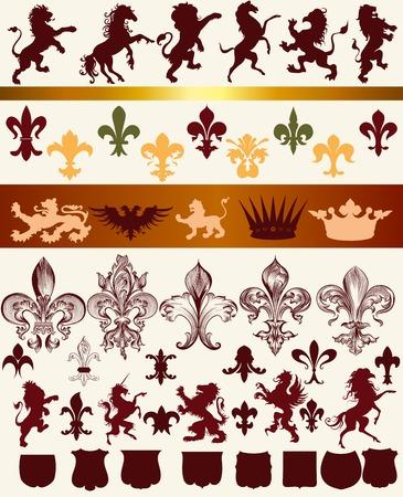 nobel: Vector set of vintage heraldic elements for design