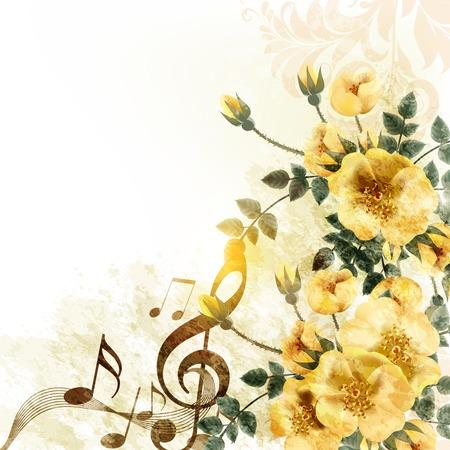 Grunge muziek romantische achtergrond met notities en rozen