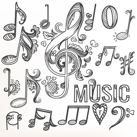 sketchy: Music sketchy doodle set  treble clef and other music symbols