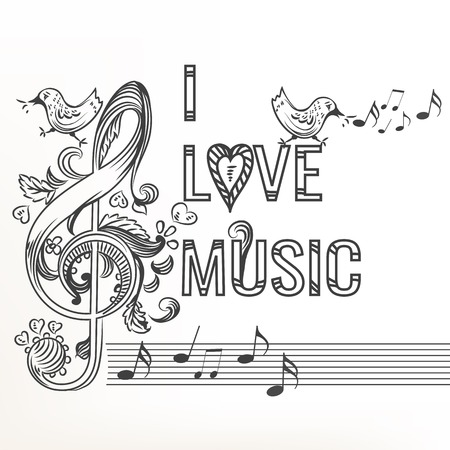 swash: Music sketchy doodle with treble clef decorated by ornament
