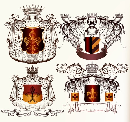 floral objects: Heraldic shields set with crowns and ribbons in engraved style
