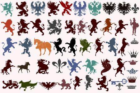 medieval: Conjunto de vector formas heráldicas animales, coronas, flor de lis y monstruos