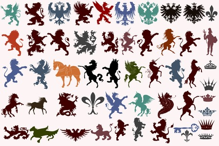 Set of vector heraldic shapes animals, crowns, fleur de lis and monsters