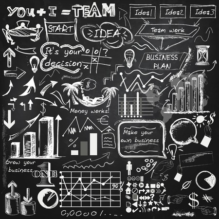Collection of vector infographic elements, business theme