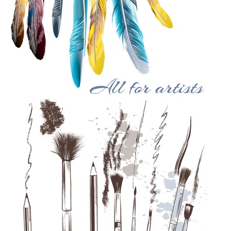 Advertising poster with feathers and brushes all for artists Stock Illustratie