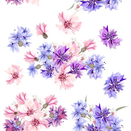Floral seamless vector pattern with flowers in watercolor style Ilustração