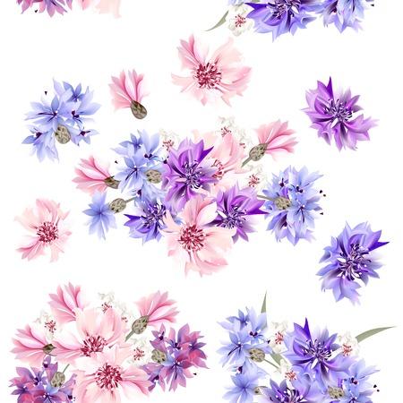 flowers: Vector patrón floral sin fisuras con flores en el estilo de la acuarela