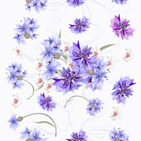 Floral seamless wallpaper pattern with blue cornflowers Illustration