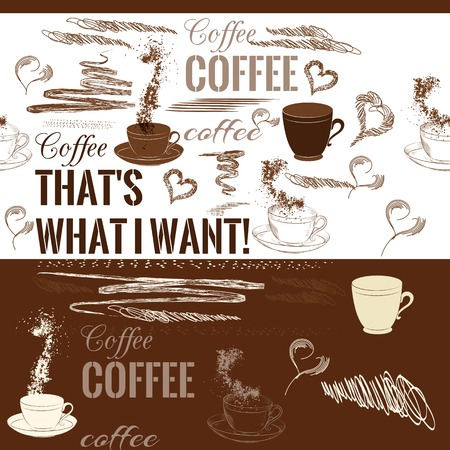 fresh brewed: Coffee seamless background Illustration