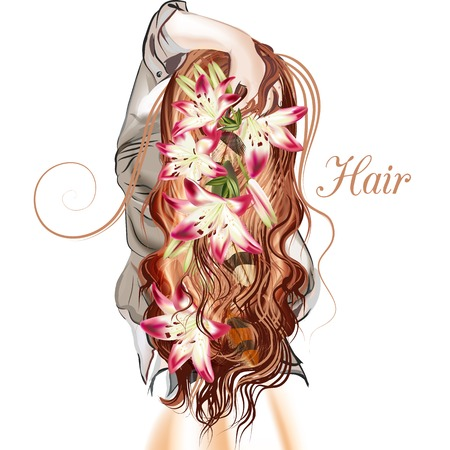 brown haired girl: Beautiful illustration with long hared girl standing back lily flowers in her hair