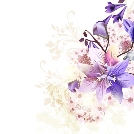 Grunge floral background with blue bells and some pink flowers