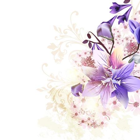 florale: Grunge Blumenhintergrund mit blauen Glocken und einige rosa Blüten Illustration