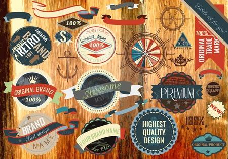 stamp: Set of vector vintage labels on a wooden texture Illustration