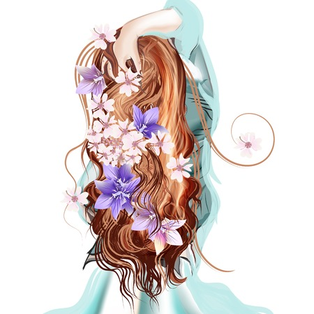 wavy hair: Beautiful illustration with long hared girl standing  back with  flowers in her hair