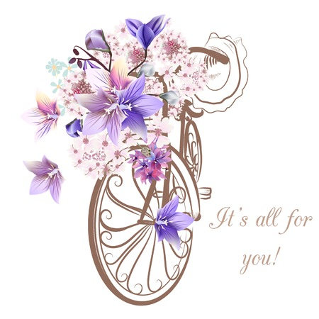Bicycle with basket fully of  flowers Illustration