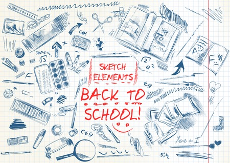 sketched: Back to school hand drawn sketched elements