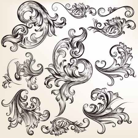 Collection of vector calligraphic flourishes and swirls Illustration