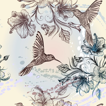hand drawn wings: Seamless wallpaper pattern with hummingbirds and hibiscus flowers Illustration