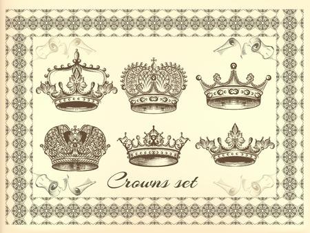 Set de couronnes tirées vecteur de la main dans le style gravé Banque d'images - 44297386